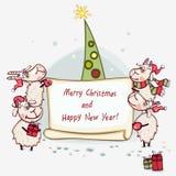 Weihnachtsfahne mit Baum Lizenzfreies Stockbild