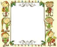 Weihnachtsfahne mit Elfen - Illustration Stockfoto