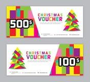 Weihnachtsfahne, Verkaufsfahnenschablone, horizontale Weihnachtsplakate, Karten, Titel, Website, bunter Hintergrund, Vektor lizenzfreie abbildung