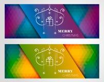 Weihnachtsfahnen-Design-Satz Lizenzfreies Stockfoto