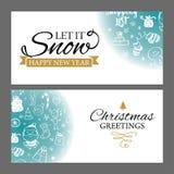 Weihnachtsfahnen eingestellt mit Gestaltungselementen in der Gekritzelart Mit Schneerahmen auf weißem Hintergrund vektor abbildung