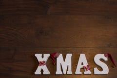 Weihnachtsfahnen-Holz-Hintergrund Lizenzfreies Stockbild