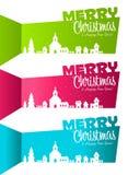 Weihnachtsfahnen mit Schattenbild-Dorf lizenzfreie abbildung