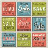 Weihnachtsfahnen mit Verkaufsangebot Stockfoto