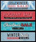 Weihnachtsfahnen mit Verkaufsangebot, Vektor Lizenzfreie Stockfotos