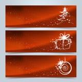 Weihnachtsfahnen oder Websitetitelsatz Stockfotos