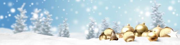 Weihnachtsfahnen-Panoramahintergrund Stockfotografie