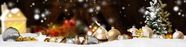 Weihnachtsfahnen-Panoramahintergrund Lizenzfreies Stockfoto