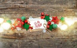 Weihnachtsfahnen-roter weißer Feiertag spielt Buchstaben Stockfoto