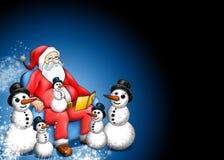 WeihnachtsFairy-tale mit Weihnachtsmann und Schneemann Lizenzfreies Stockfoto