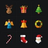 Weihnachtsfarbikonensammlung - Vektorillustration Stockbilder