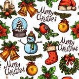 Weihnachtsfarbskizzen-Muster Lizenzfreies Stockbild