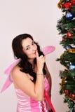 Weihnachtsfeenhafte sexy Frau Stockfoto