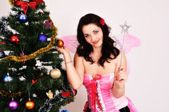Weihnachtsfeenhafte sexy Frau Lizenzfreie Stockfotos
