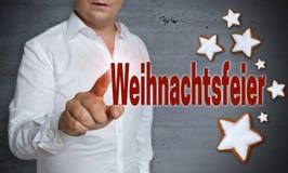 Weihnachtsfeier & x28 στα γερμανικά Χριστούγεννα Party& x29  η οθόνη επαφής είναι όπερα στοκ φωτογραφία με δικαίωμα ελεύθερης χρήσης