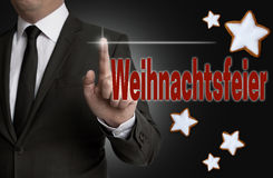 Weihnachtsfeier & x28; 在德国圣诞节celebration& x29;触摸屏幕是 免版税库存照片
