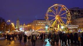 Weihnachtsfeier in Kiew-Stadt stock video