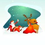 Weihnachtsfeier mit Sankt und Ren vektor abbildung