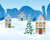 Weihnachtsfeiertag im Dorf lizenzfreie abbildung