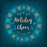 Weihnachtsfeiertags-Beifallkarte Weihnachtskranz, Schneeflocken, Beschriftung, Winterhintergrund Lizenzfreies Stockfoto