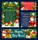 Weihnachtsfeiertags-Grußkarte, Fahnenschablone Stockfotos