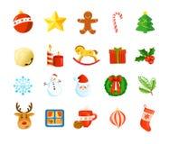 Weihnachtsfeiertags-Ikonensatz lizenzfreies stockbild