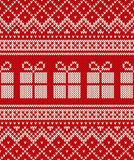 Weihnachtsfeiertags-Strickjacken-Design mit Geschenkboxen Nahtloses patte Stockbilder