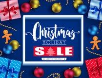 Weihnachtsfeiertags-Verkaufs-realistisches Plakat-Design mit 3D Rahmen, Ginger Man Stockfotografie