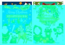 Weihnachtsfeiertagsfahne mit Sankt und Schneemann Lizenzfreie Stockbilder