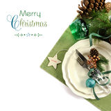 Weihnachtsfeiertagsgrünthema-Tabellengedeck Stockbild