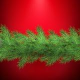 Weihnachtsfeiertagsgrenze mit realistischen Tannenbaumastdekorationen mit Schatten, auf Rot ENV 10 stock abbildung