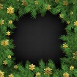 Weihnachtsfeiertagsgruß-Kartenrahmenschablone von goldenen Schneeflockendekorationen und von Tannenbaumasten ENV 10 lizenzfreie abbildung