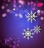 Weihnachtsfeiertagshintergrund mit Schneeflocken Stockbild