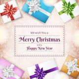 Weihnachtsfeiertagsrahmen mit Geschenkboxen von der Spitze Lizenzfreies Stockbild