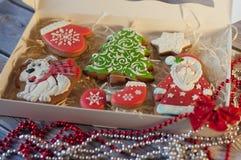 Weihnachtsfeiertagssatz glasig-glänzende Plätzchen im Kasten lizenzfreie stockfotografie