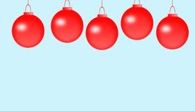 Weihnachtsfeld für Grußkarte mit dekorativen roten Verzierungen vektor abbildung