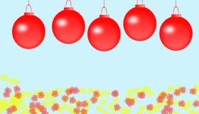 Weihnachtsfeld für Grußkarte mit dekorativen roten Verzierungen lizenzfreie abbildung
