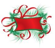 Weihnachtsfeld mit einem Pelzbaum, Vektor Lizenzfreie Stockfotos