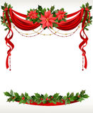 Weihnachtsfeld mit pointsettia Lizenzfreie Stockfotografie