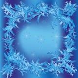 Weihnachtsfeld mit Schneeflocken und eisigem Muster Stockbild