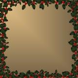 Weihnachtsfeld - Stechpalme auf Gold Stockfotografie