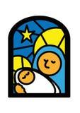Weihnachtsfenster Mary und Jesus Lizenzfreie Stockfotografie