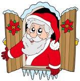 Weihnachtsfenster mit Weihnachtsmann Stockbilder