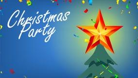 Weihnachtsfest-Fahne mit glänzendem Stern und Konfettis im Vektor des nächtlichen Himmels Abbildung stock abbildung
