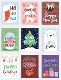 Weihnachtsfest invintation Vektor-Kartendesignschablone für noel Weihnachtsfeiertagsfeier clipart neues Jahr Santa Claus Lizenzfreies Stockbild