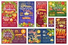 Weihnachtsfest invintation Vektorkartenhintergrund-Designschablone für noel Weihnachtsfeiertagsfeier clipart neues Jahr Lizenzfreie Stockfotografie