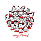 Weihnachtsfest mit Gruppe von Personen, Skizze für Lizenzfreies Stockbild