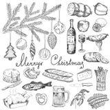 Weihnachtsfest mit unterschiedlichem Lebensmittel lizenzfreie abbildung