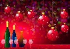 Weihnachtsfest mit Wein-Flasche u. Gläsern Stockbilder