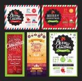 Weihnachtsfesteinladung, Lebensmittelmenürestaurant Lizenzfreie Stockfotos
